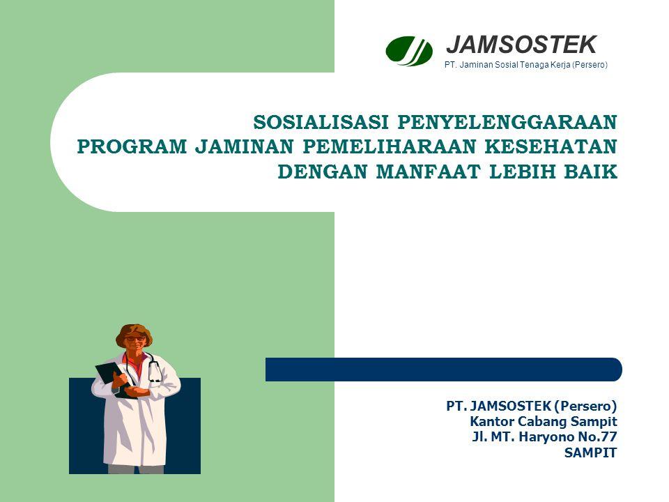 J A M I N A N 1.Mencakup Tenaga Kerja dan Keluarganya (suami/istri dan 3 anak) 2.Bersifat : Promotif, Preventif, Kuratif dan Rehabilitatif (Komprehenshif) 3.Batasan – batasan: 3.1.