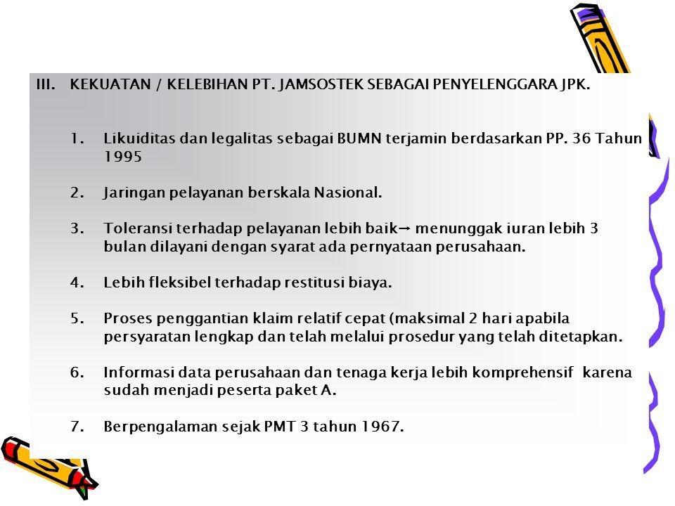 III.KEKUATAN / KELEBIHAN PT.JAMSOSTEK SEBAGAI PENYELENGGARA JPK.