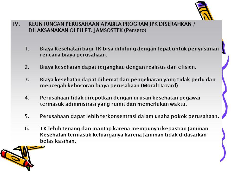 IV.KEUNTUNGAN PERUSAHAAN APABILA PROGRAM JPK DISERAHKAN / DILAKSANAKAN OLEH PT.