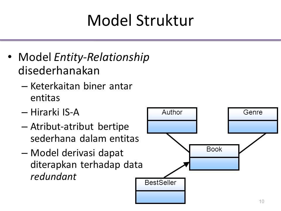 Model Struktur • Model Entity-Relationship disederhanakan – Keterkaitan biner antar entitas – Hirarki IS-A – Atribut-atribut bertipe sederhana dalam entitas – Model derivasi dapat diterapkan terhadap data redundant Book AuthorGenre BestSeller 10
