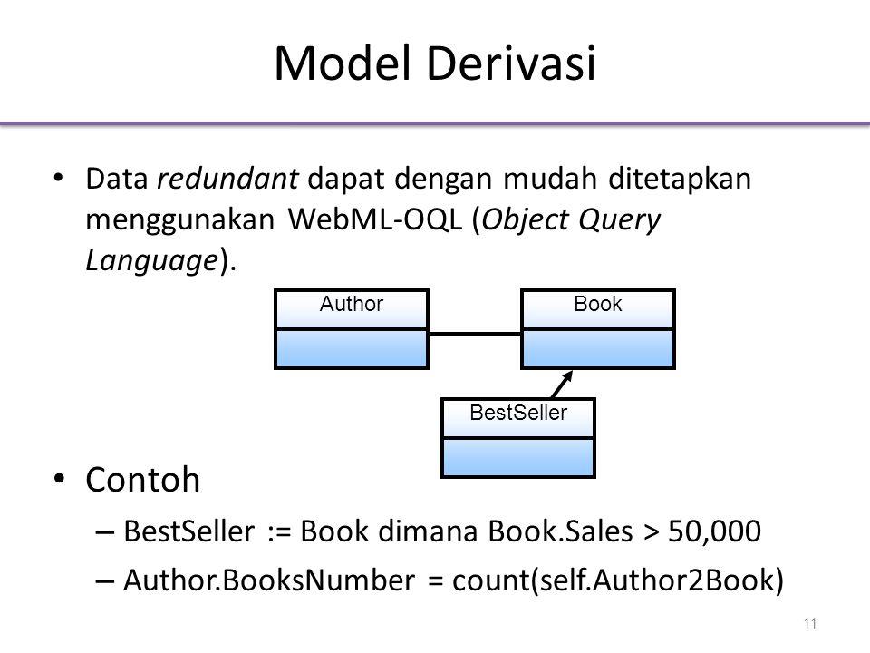 Model Derivasi • Data redundant dapat dengan mudah ditetapkan menggunakan WebML-OQL (Object Query Language).