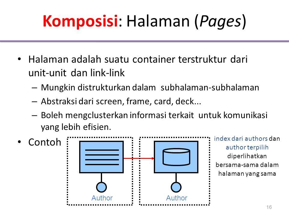 Komposisi: Halaman (Pages) • Halaman adalah suatu container terstruktur dari unit-unit dan link-link – Mungkin distrukturkan dalam subhalaman-subhalaman – Abstraksi dari screen, frame, card, deck...