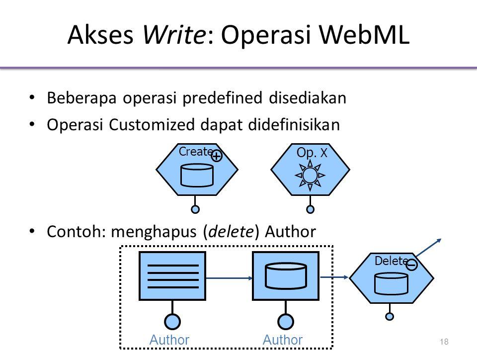 Akses Write: Operasi WebML • Beberapa operasi predefined disediakan • Operasi Customized dapat didefinisikan • Contoh: menghapus (delete) Author Create Op.