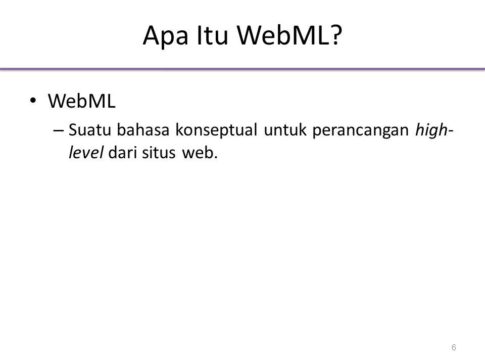 Apa Itu WebML? • WebML – Suatu bahasa konseptual untuk perancangan high- level dari situs web. 6