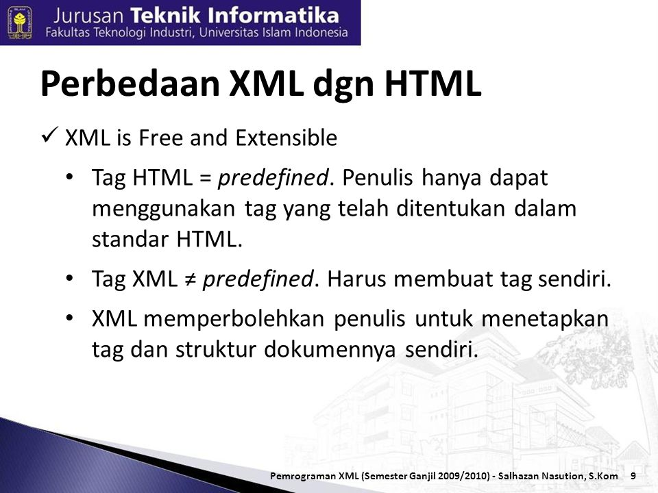 10 Contoh Dokumen HTML Ini adalah dokumen HTML Contoh - 1 Pemrograman XML (Semester Ganjil 2009/2010) - Salhazan Nasution, S.Kom