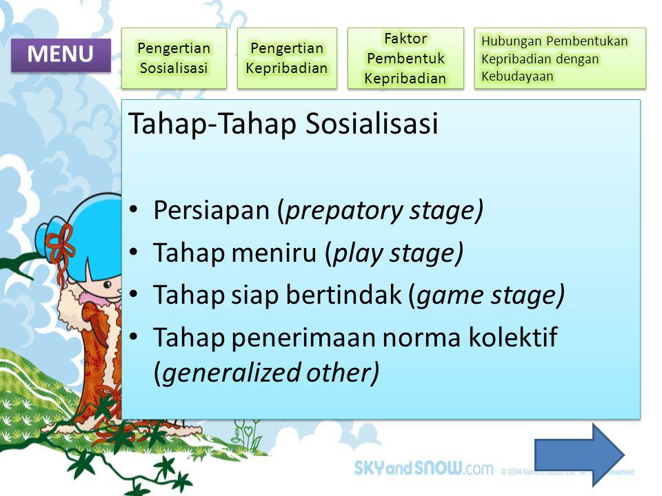 MENU Tahap-Tahap Sosialisasi • Persiapan (prepatory stage) • Tahap meniru (play stage) • Tahap siap bertindak (game stage) • Tahap penerimaan norma ko