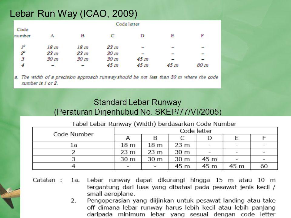 Lebar Run Way (ICAO, 2009) Standard Lebar Runway (Peraturan Dirjenhubud No. SKEP/77/VI/2005)