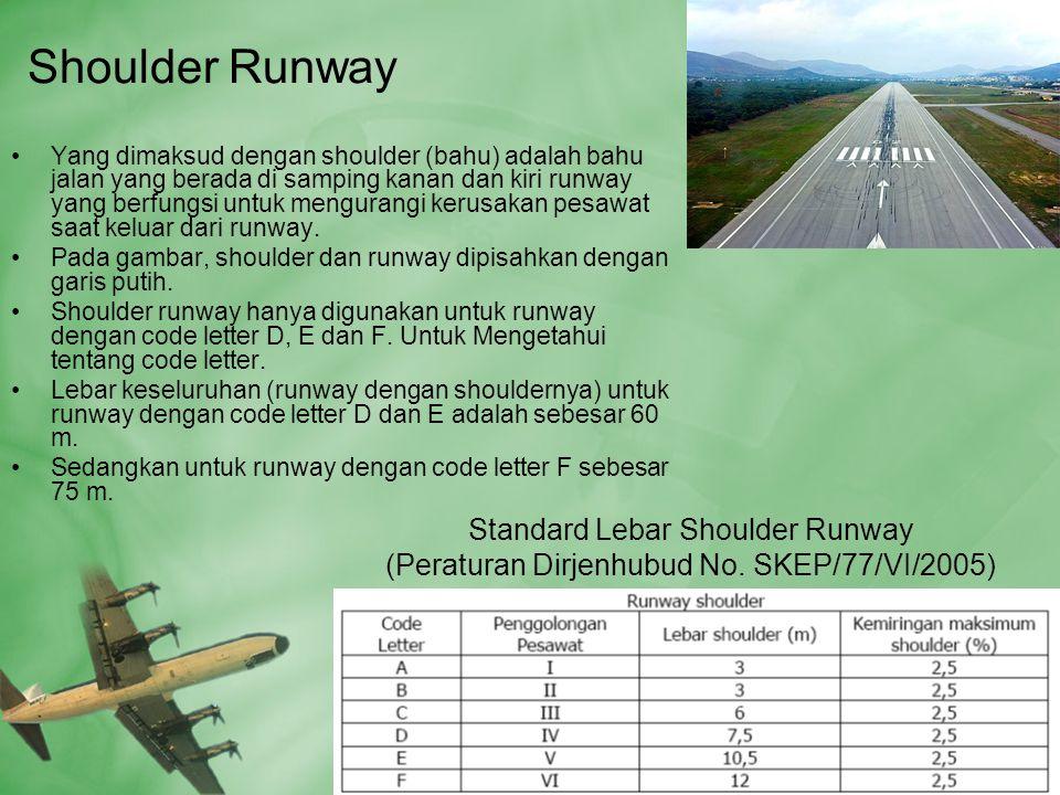 Shoulder Runway •Yang dimaksud dengan shoulder (bahu) adalah bahu jalan yang berada di samping kanan dan kiri runway yang berfungsi untuk mengurangi kerusakan pesawat saat keluar dari runway.