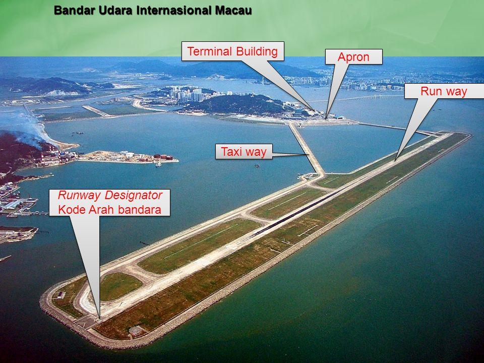 Run way Taxi way Apron Terminal Building Runway Designator Kode Arah bandara Bandar Udara Internasional Macau