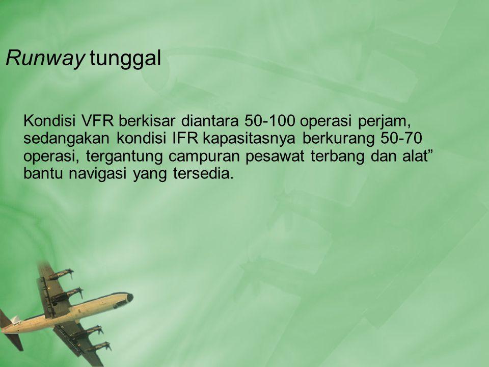 Runway tunggal Kondisi VFR berkisar diantara 50-100 operasi perjam, sedangakan kondisi IFR kapasitasnya berkurang 50-70 operasi, tergantung campuran pesawat terbang dan alat bantu navigasi yang tersedia.