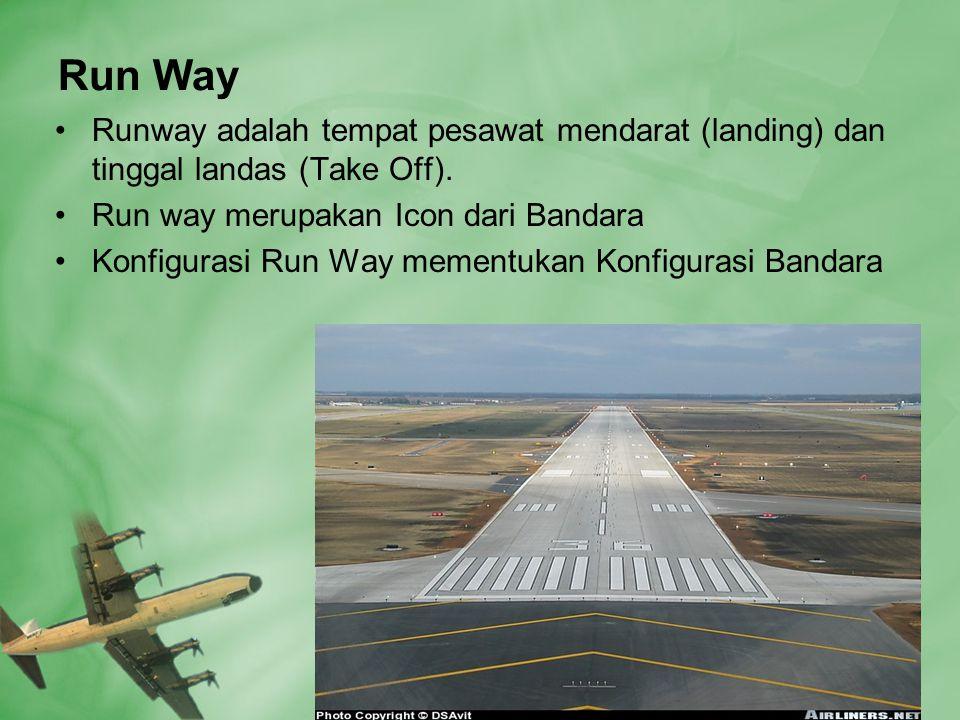 Run Way •Runway adalah tempat pesawat mendarat (landing) dan tinggal landas (Take Off).
