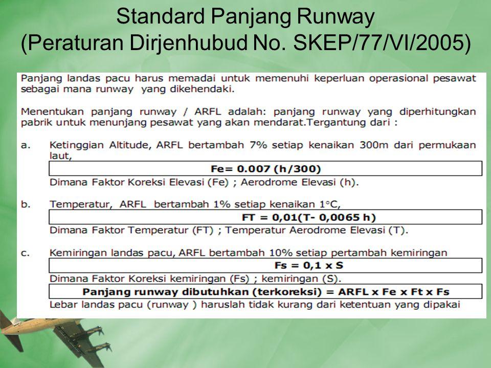 Standard Panjang Runway (Peraturan Dirjenhubud No. SKEP/77/VI/2005)