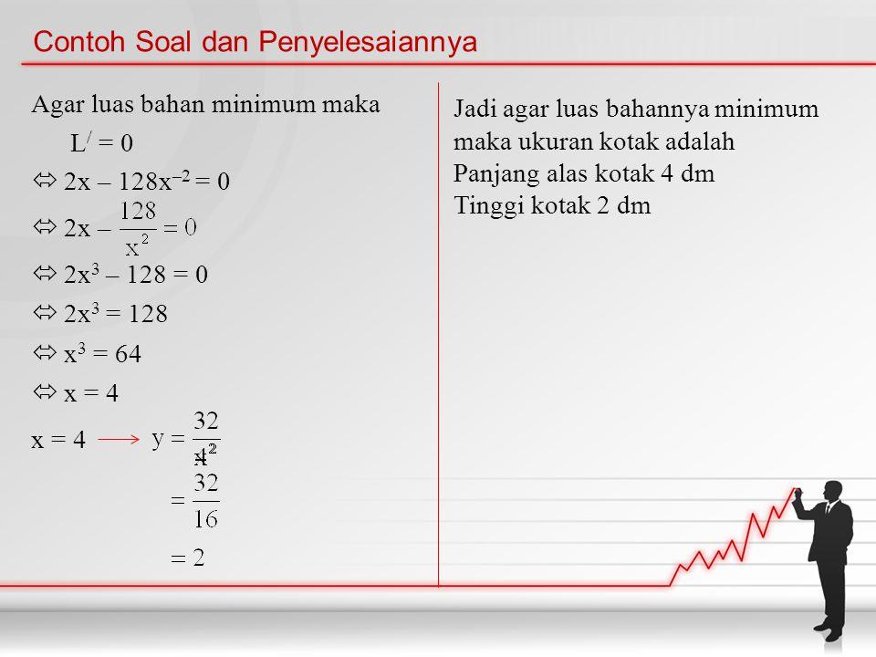 Contoh Soal dan Penyelesaiannya Agar luas bahan minimum maka L / = 0  2x – 128x –2 = 0  2x –  2x 3 – 128 = 0  2x 3 = 128  x 3 = 64  x = 4 x = 4 Jadi agar luas bahannya minimum maka ukuran kotak adalah Panjang alas kotak 4 dm Tinggi kotak 2 dm