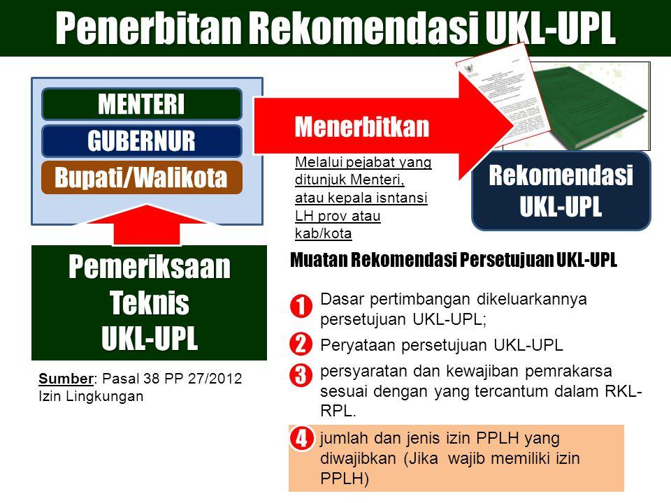 Rekomendasi UKL-UPL MENTERI GUBERNUR Bupati/Walikota Penerbitan Rekomendasi UKL-UPL 1.Dasar pertimbangan dikeluarkannya persetujuan UKL-UPL; 2.Peryata