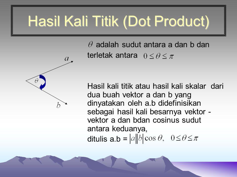 Hasil Kali Titik (Dot Product) adalah sudut antara a dan b dan terletak antara Hasil kali titik atau hasil kali skalar dari dua buah vektor a dan b ya