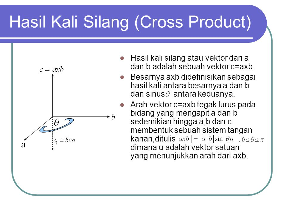 Hasil Kali Silang (Cross Product)  Hasil kali silang atau vektor dari a dan b adalah sebuah vektor c=axb.  Besarnya axb didefinisikan sebagai hasil
