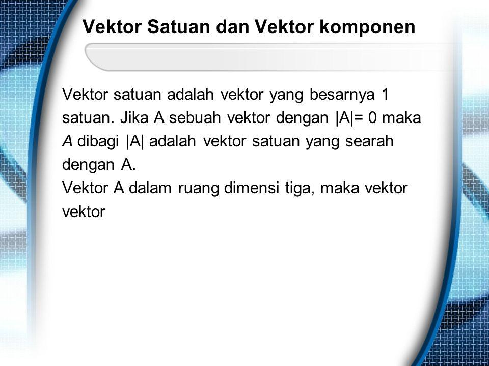 Vektor Satuan dan Vektor komponen Vektor satuan adalah vektor yang besarnya 1 satuan. Jika A sebuah vektor dengan |A|= 0 maka A dibagi |A| adalah vekt