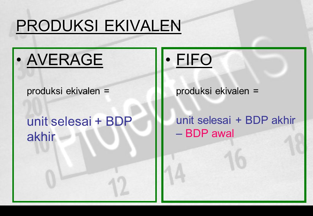 PRODUKSI EKIVALEN •AVERAGE produksi ekivalen = unit selesai + BDP akhir •FIFO produksi ekivalen = unit selesai + BDP akhir – BDP awal