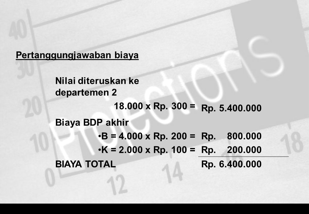Pertanggungjawaban biaya Nilai diteruskan ke departemen 2 18.000 x Rp. 300 = Rp. 5.400.000 Biaya BDP akhir •B = 4.000 x Rp. 200 = •K = 2.000 x Rp. 100
