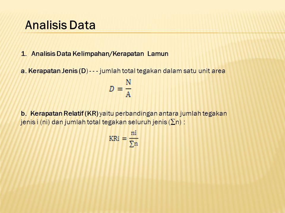Analisis Data 1.Analisis Data Kelimpahan/Kerapatan Lamun a.