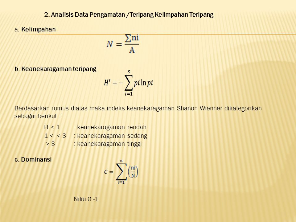 2.Analisis Data Pengamatan /Teripang Kelimpahan Teripang a.