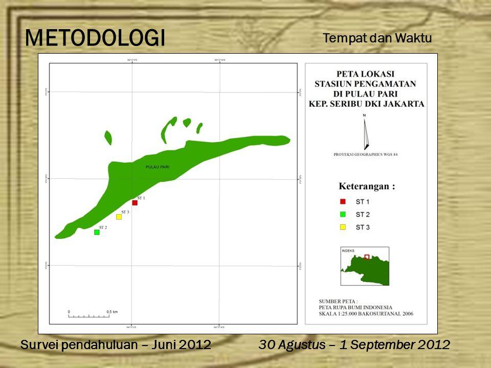 METODOLOGI 30 Agustus – 1 September 2012Survei pendahuluan – Juni 2012 Tempat dan Waktu