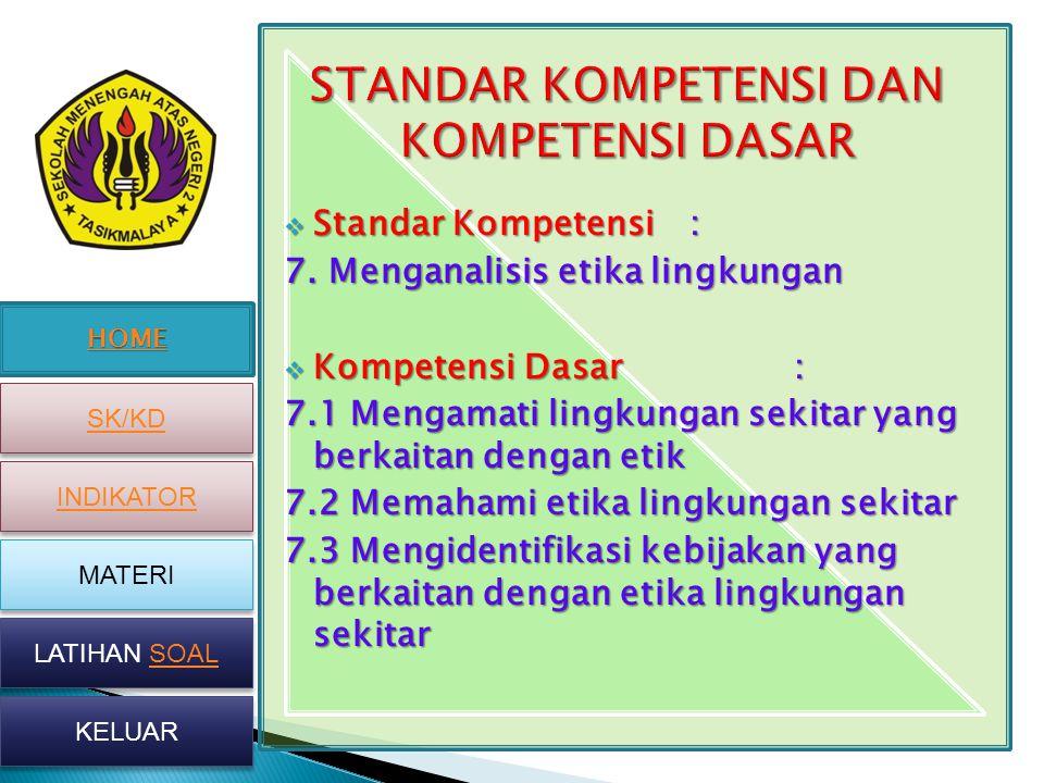 HOME SK/KD INDIKATOR MATERI LATIHAN SOAL LATIHAN SOAL KELUAR  Standar Kompetensi: 7. Menganalisis etika lingkungan  Kompetensi Dasar: 7.1 Mengamati