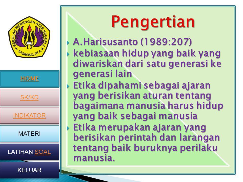 HOME SK/KD INDIKATOR MATERI LATIHAN SOAL LATIHAN SOAL KELUAR  A.Harisusanto (1989:207)  kebiasaan hidup yang baik yang diwariskan dari satu generasi