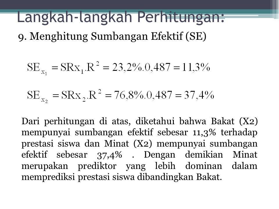 Langkah-langkah Perhitungan: 9. Menghitung Sumbangan Efektif (SE) Dari perhitungan di atas, diketahui bahwa Bakat (X2) mempunyai sumbangan efektif seb
