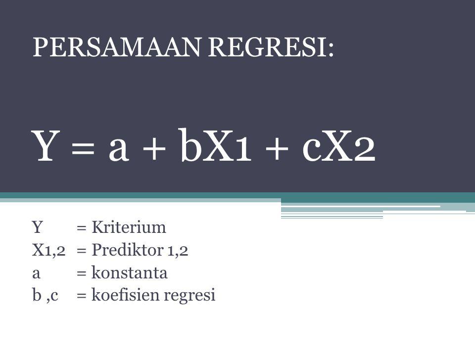 PERSAMAAN REGRESI: Y = a + bX1 + cX2 Y = Kriterium X1,2= Prediktor 1,2 a = konstanta b,c= koefisien regresi