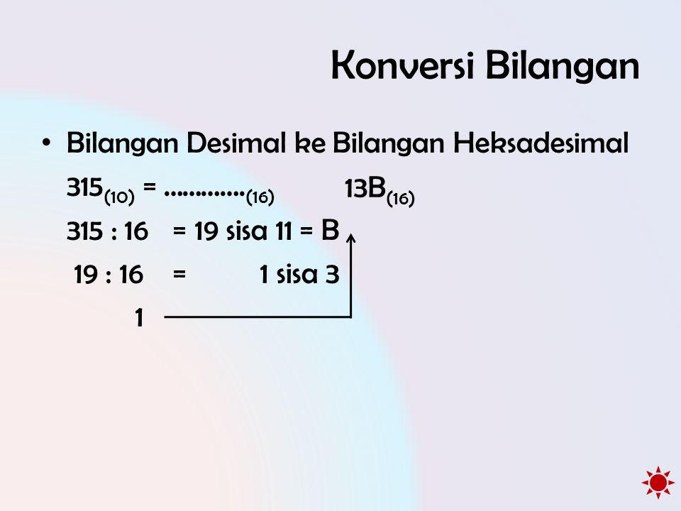 Konversi Bilangan • Bilangan Desimal ke Bilangan Heksadesimal 315 (10) = …………. (16) 315 : 16 =19 sisa 11 = B 19 : 16 =1 sisa 3 1 13B (16)