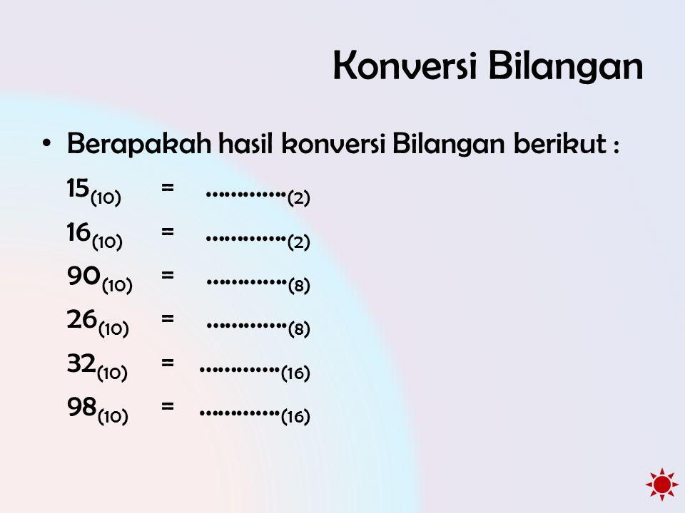 Konversi Bilangan • Berapakah hasil konversi Bilangan berikut : 15 (10) =…………. (2) 16 (10) =…………. (2) 90 (10) =…………. (8) 26 (10) =…………. (8) 32 (10) =…