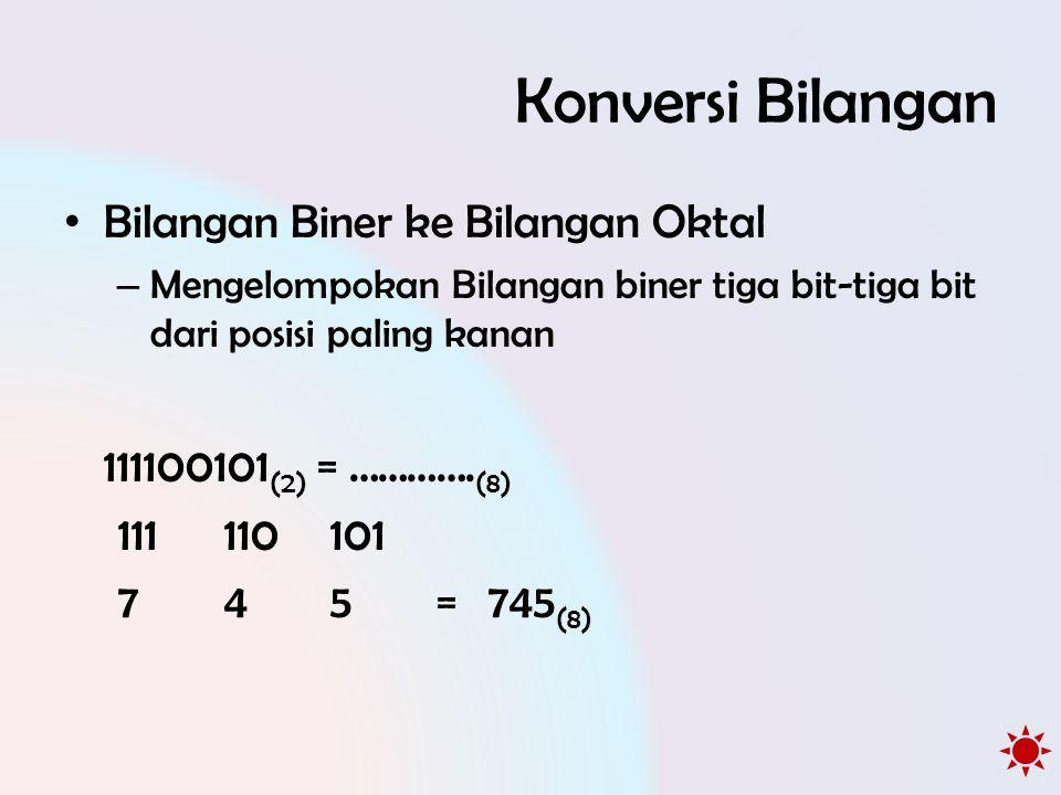 Konversi Bilangan • Bilangan Biner ke Bilangan Oktal – Mengelompokan Bilangan biner tiga bit-tiga bit dari posisi paling kanan 111100101 (2) = …………. (
