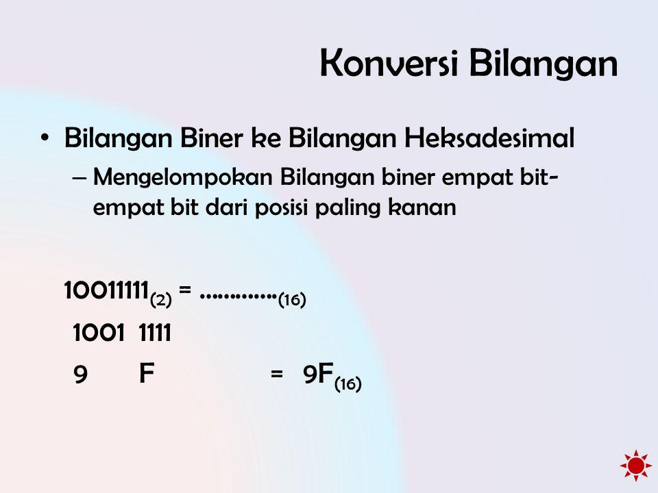 Konversi Bilangan • Bilangan Biner ke Bilangan Heksadesimal – Mengelompokan Bilangan biner empat bit- empat bit dari posisi paling kanan 10011111 (2)