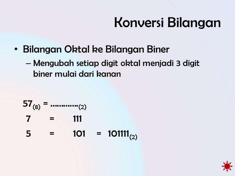 Konversi Bilangan • Bilangan Oktal ke Bilangan Biner – Mengubah setiap digit oktal menjadi 3 digit biner mulai dari kanan 57 (8) = ………….