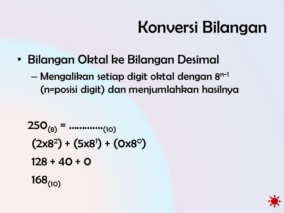 Konversi Bilangan • Bilangan Oktal ke Bilangan Desimal – Mengalikan setiap digit oktal dengan 8 n-1 (n=posisi digit) dan menjumlahkan hasilnya 250 (8) = ………….