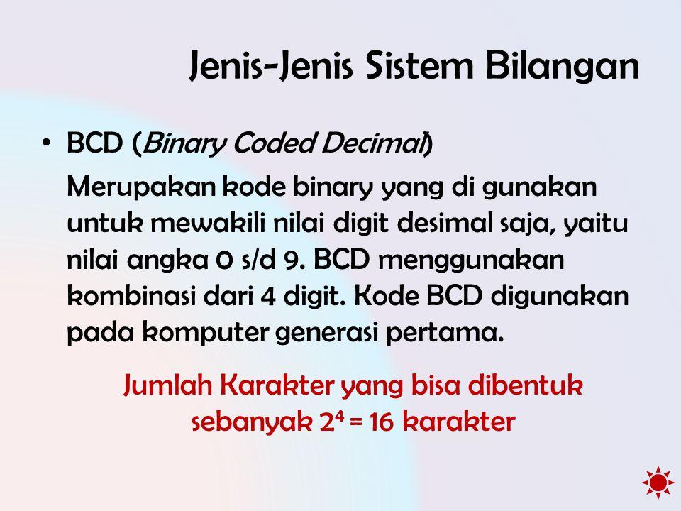 Jenis-Jenis Sistem Bilangan • BCD (Binary Coded Decimal) Merupakan kode binary yang di gunakan untuk mewakili nilai digit desimal saja, yaitu nilai angka 0 s/d 9.