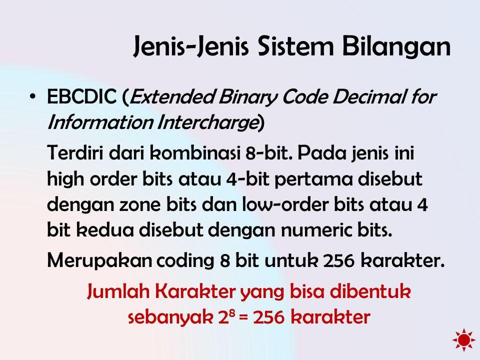 Jenis-Jenis Sistem Bilangan • EBCDIC (Extended Binary Code Decimal for Information Intercharge) Terdiri dari kombinasi 8-bit. Pada jenis ini high orde