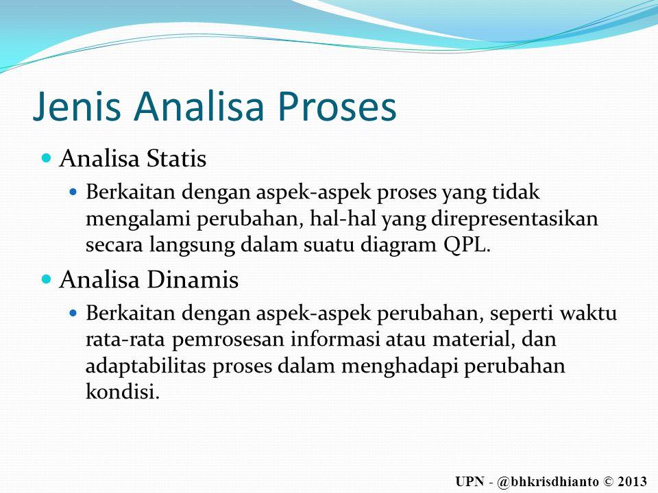 UPN - @bhkrisdhianto © 2013 Jenis Analisa Proses  Analisa Statis  Berkaitan dengan aspek-aspek proses yang tidak mengalami perubahan, hal-hal yang d