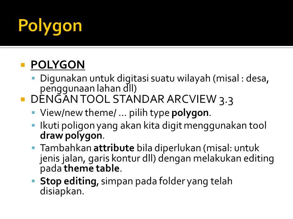  POLYGON  Digunakan untuk digitasi suatu wilayah (misal : desa, penggunaan lahan dll)  DENGAN TOOL STANDAR ARCVIEW 3.3  View/new theme/ … pilih ty
