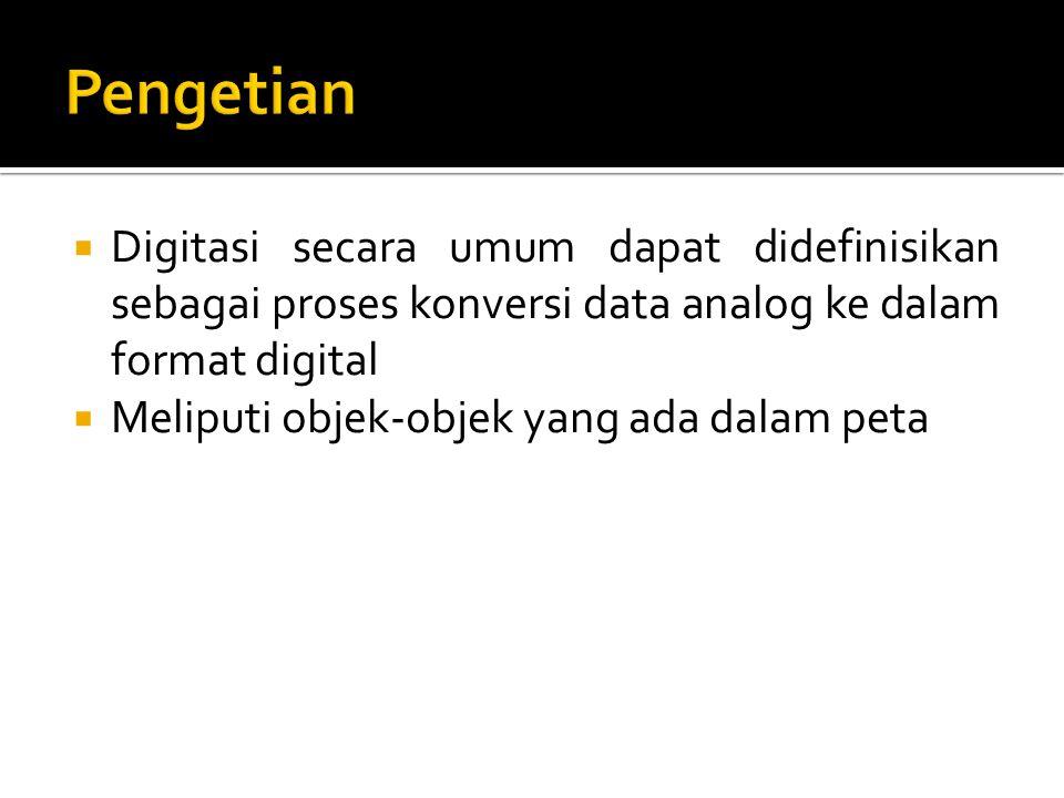  Digitasi secara umum dapat didefinisikan sebagai proses konversi data analog ke dalam format digital  Meliputi objek-objek yang ada dalam peta