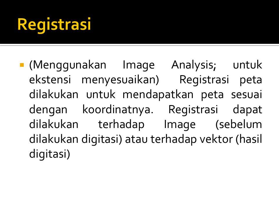  (Menggunakan Image Analysis; untuk ekstensi menyesuaikan) Registrasi peta dilakukan untuk mendapatkan peta sesuai dengan koordinatnya. Registrasi da