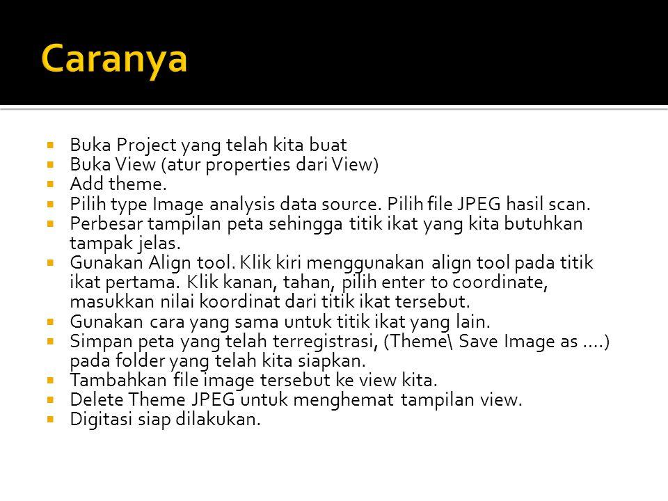  Buka Project yang telah kita buat  Buka View (atur properties dari View)  Add theme.  Pilih type Image analysis data source. Pilih file JPEG hasi