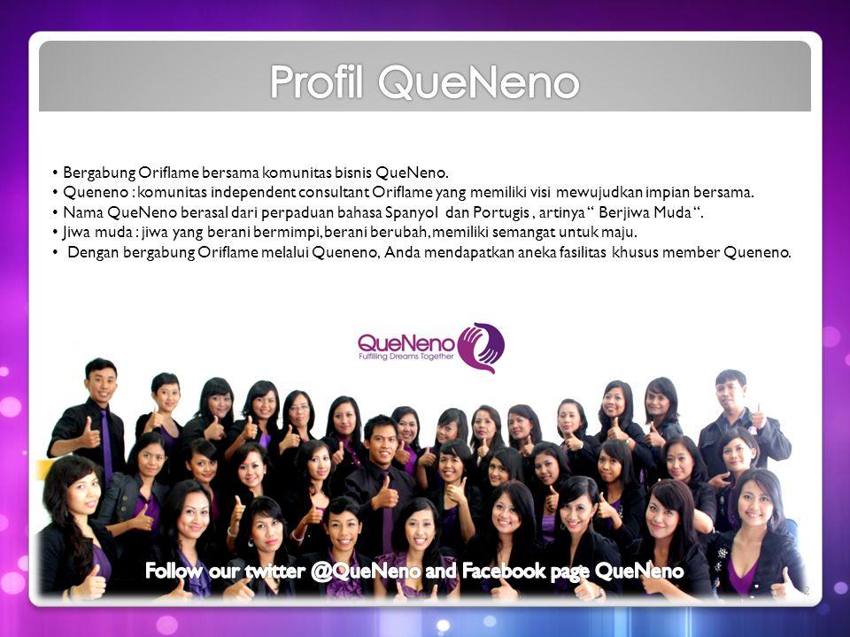 • Bergabung Oriflame bersama komunitas bisnis QueNeno. • Queneno : komunitas independent consultant Oriflame yang memiliki visi mewujudkan impian bers