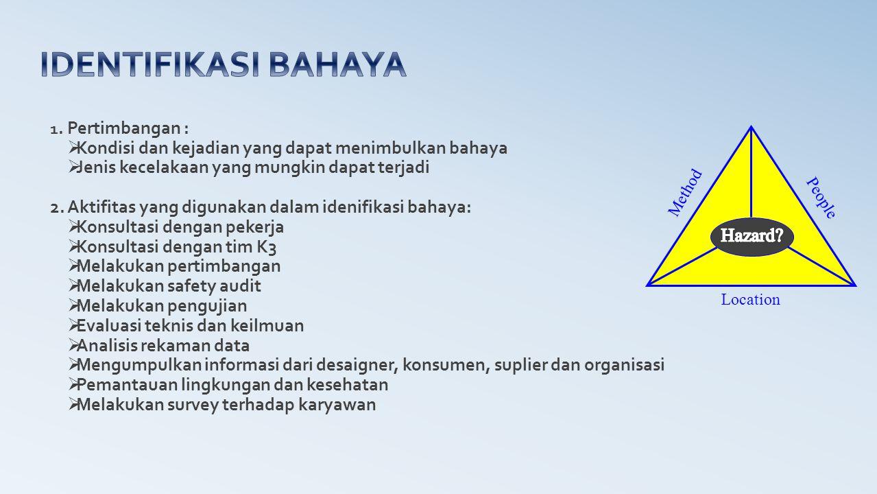 1. Pertimbangan :  Kondisi dan kejadian yang dapat menimbulkan bahaya  Jenis kecelakaan yang mungkin dapat terjadi 2. Aktifitas yang digunakan dalam