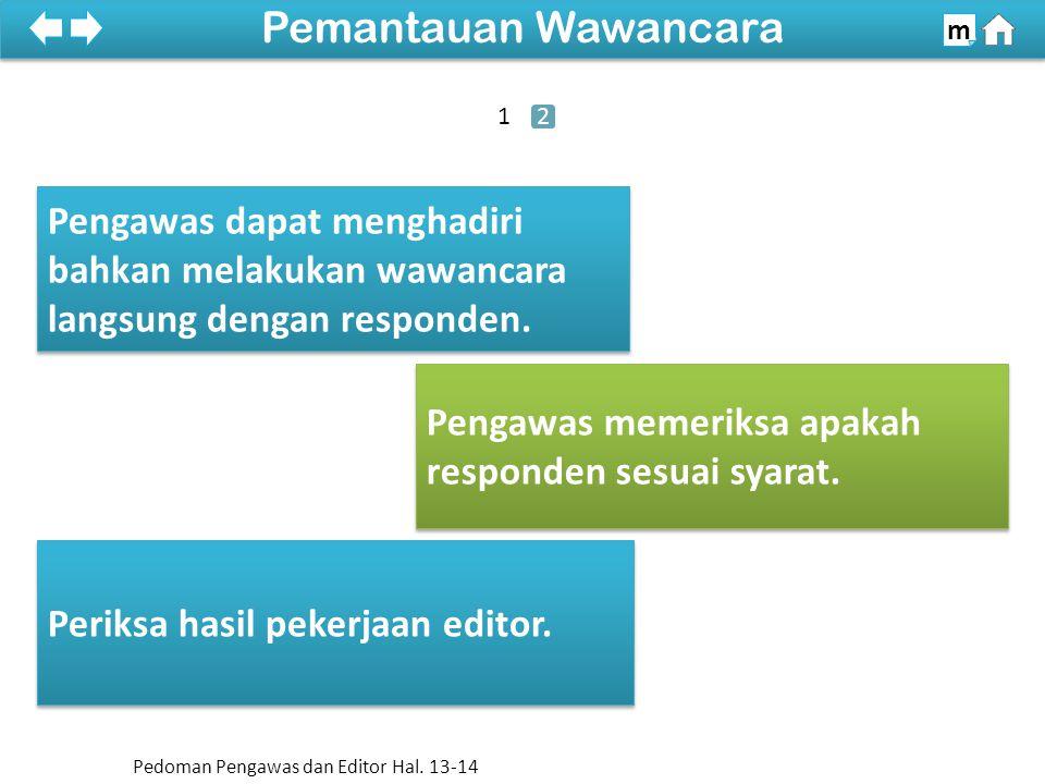 100% SDKI 2012 Pemantauan Wawancara m Pengawas dapat menghadiri bahkan melakukan wawancara langsung dengan responden.