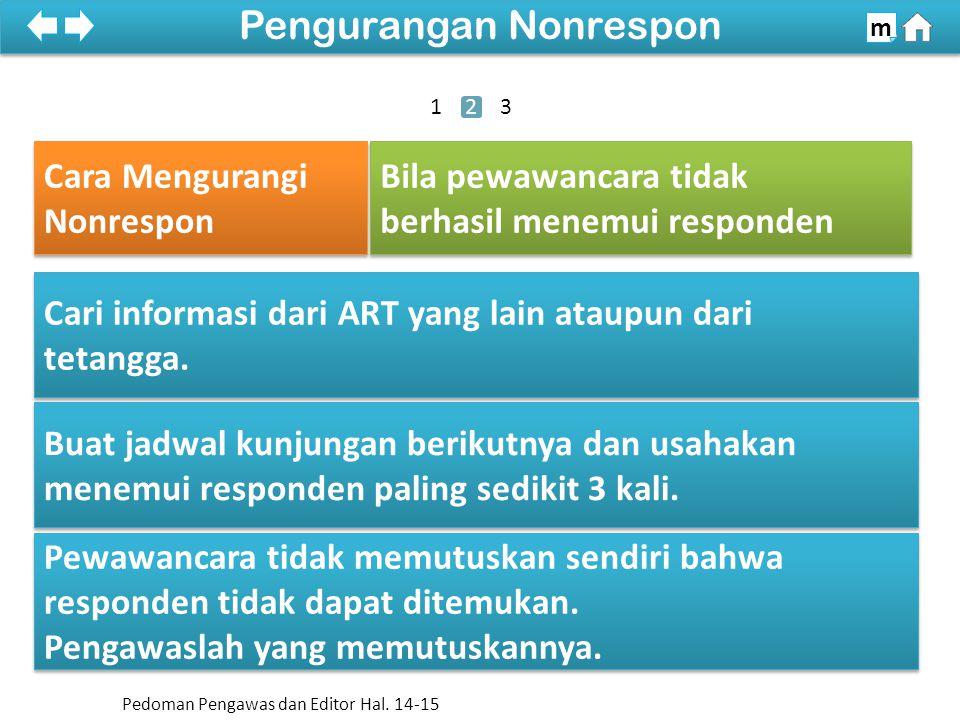 Cara Mengurangi Dua jenis Non Respon 100% SDKI 2012 Pengurangan Nonrespon m Cari informasi dari ART yang lain ataupun dari tetangga.