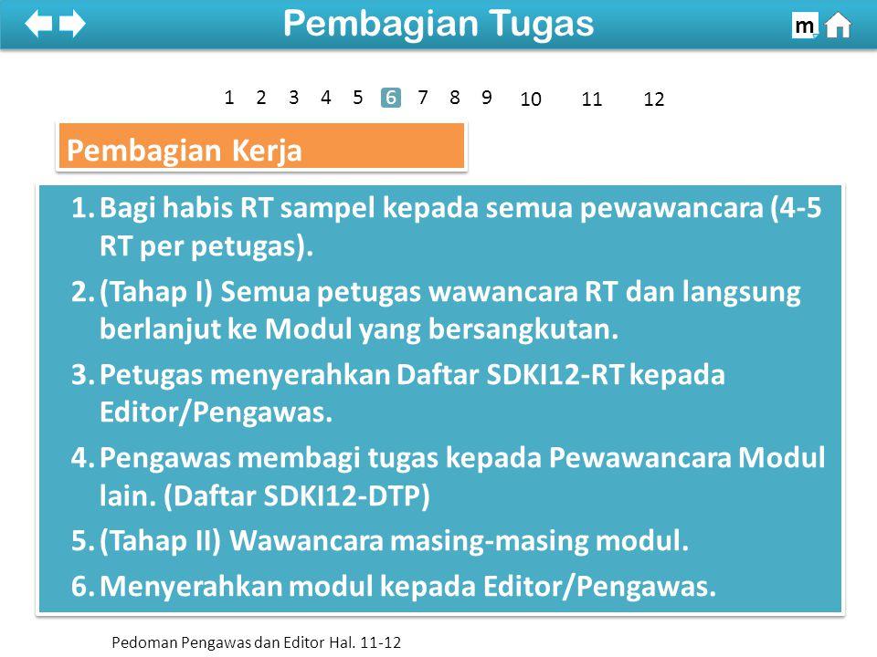 Pembagian Kerja 1.Bagi habis RT sampel kepada semua pewawancara (4-5 RT per petugas).