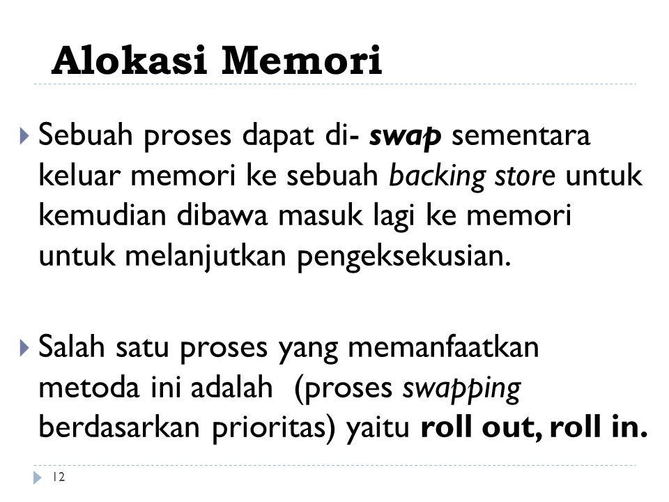  Sebuah proses dapat di- swap sementara keluar memori ke sebuah backing store untuk kemudian dibawa masuk lagi ke memori untuk melanjutkan pengekseku
