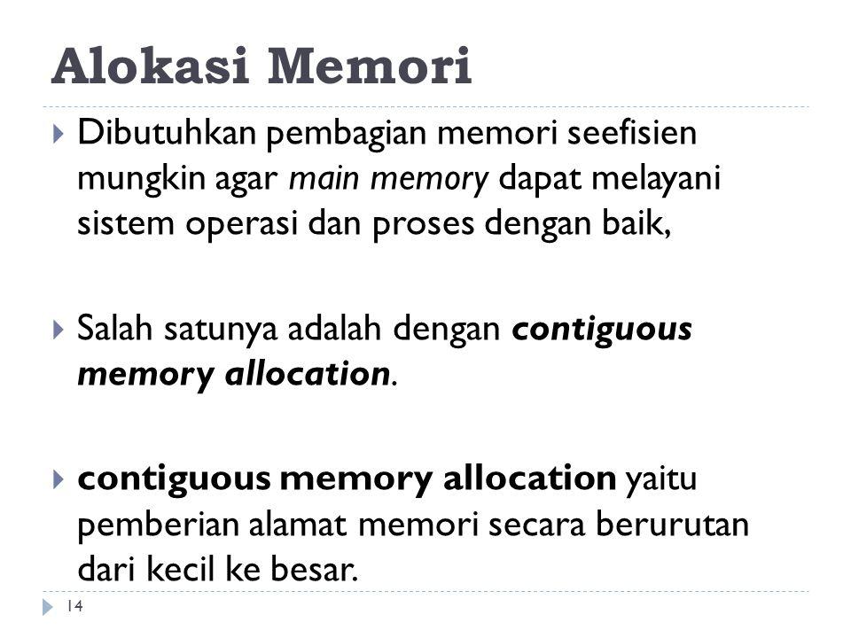 Alokasi Memori  Dibutuhkan pembagian memori seefisien mungkin agar main memory dapat melayani sistem operasi dan proses dengan baik,  Salah satunya